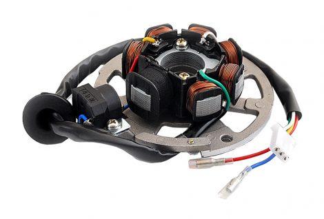 Gyújtás alaplap állórész+tálca Minarelli/Yamaha 50-80cc (7 tekercs+ szikra érzékelő+tálca)
